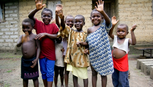 Smiling happy kids in Africa, Sierra Leone, Masanga
